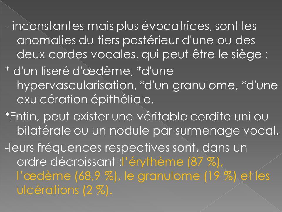 - inconstantes mais plus évocatrices, sont les anomalies du tiers postérieur d une ou des deux cordes vocales, qui peut être le siège :