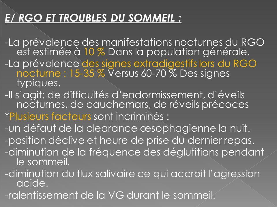 E/ RGO ET TROUBLES DU SOMMEIL :