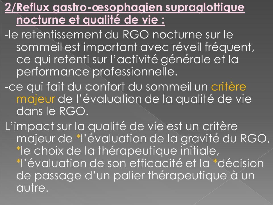 2/Reflux gastro-œsophagien supraglottique nocturne et qualité de vie :