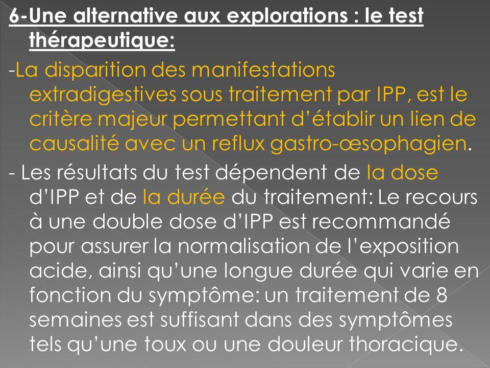 6-Une alternative aux explorations : le test thérapeutique: -La disparition des manifestations extradigestives sous traitement par IPP, est le critère majeur permettant d'établir un lien de causalité avec un reflux gastro-œsophagien.
