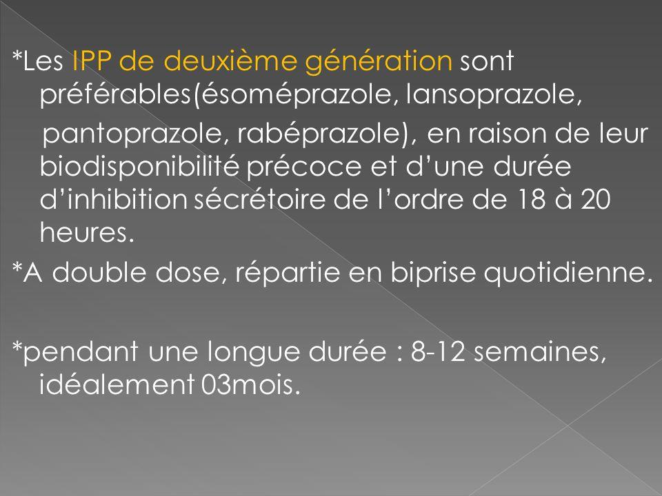 *Les IPP de deuxième génération sont préférables(ésoméprazole, lansoprazole, pantoprazole, rabéprazole), en raison de leur biodisponibilité précoce et d'une durée d'inhibition sécrétoire de l'ordre de 18 à 20 heures.