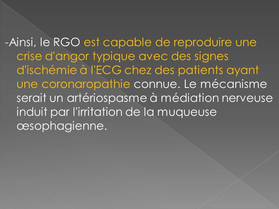 -Ainsi, le RGO est capable de reproduire une crise d angor typique avec des signes d ischémie à l ECG chez des patients ayant une coronaropathie connue.