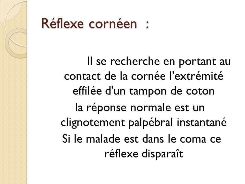 Réflexe cornéen : Il se recherche en portant au contact de la cornée l extrémité effilée d un tampon de coton.