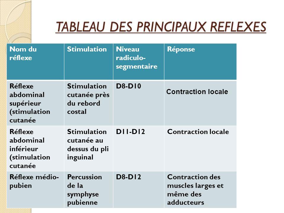 TABLEAU DES PRINCIPAUX REFLEXES