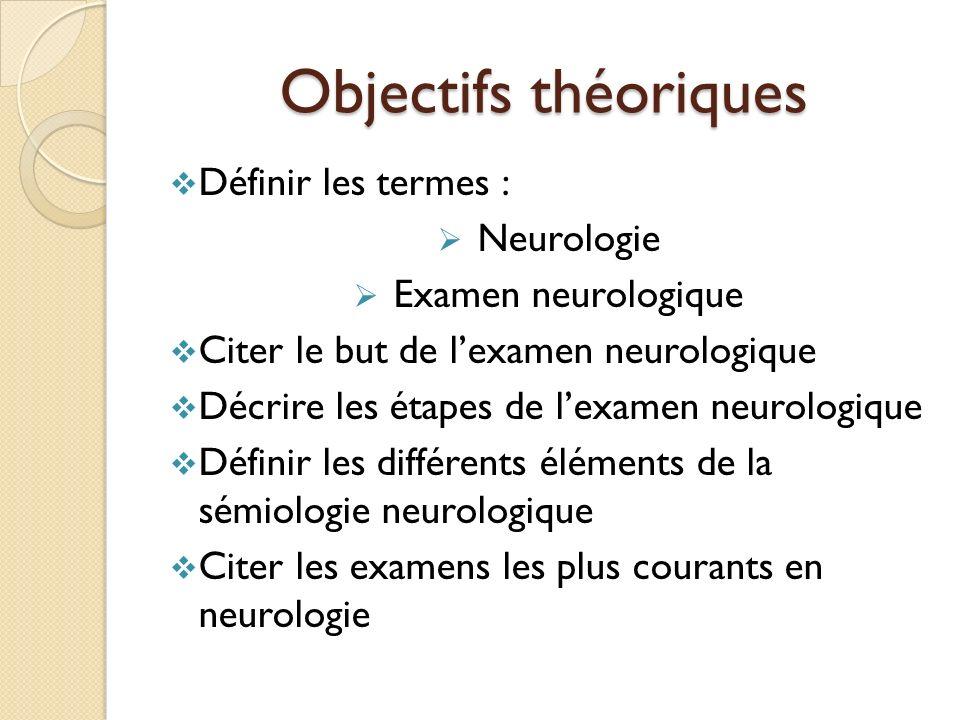 Objectifs théoriques Définir les termes : Neurologie
