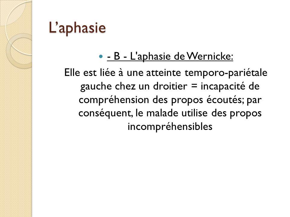 - B - L aphasie de Wernicke: