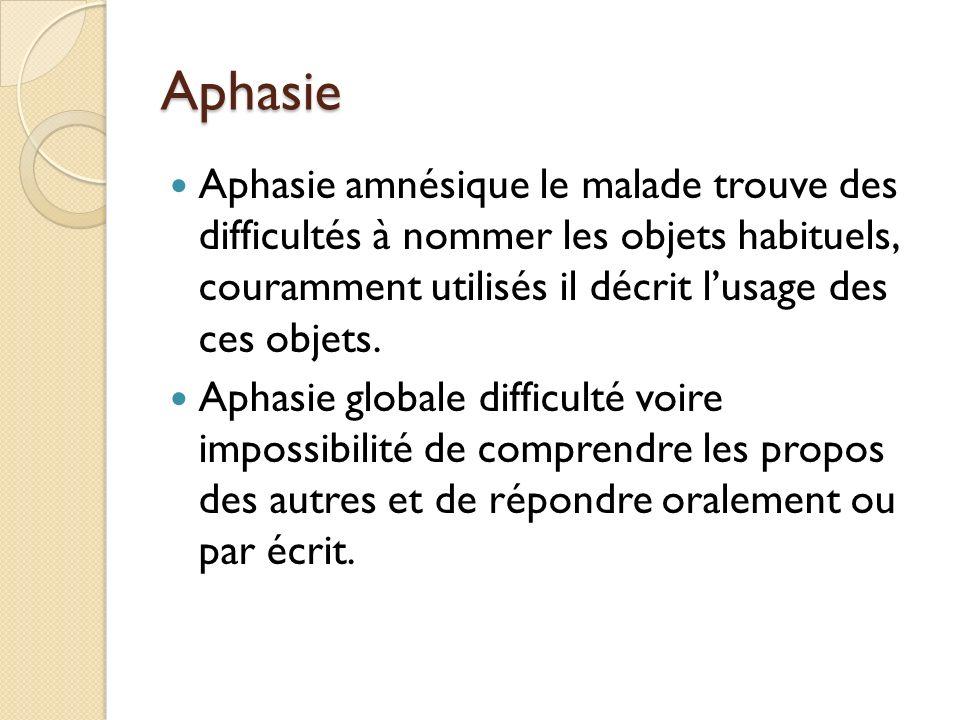 Aphasie Aphasie amnésique le malade trouve des difficultés à nommer les objets habituels, couramment utilisés il décrit l'usage des ces objets.