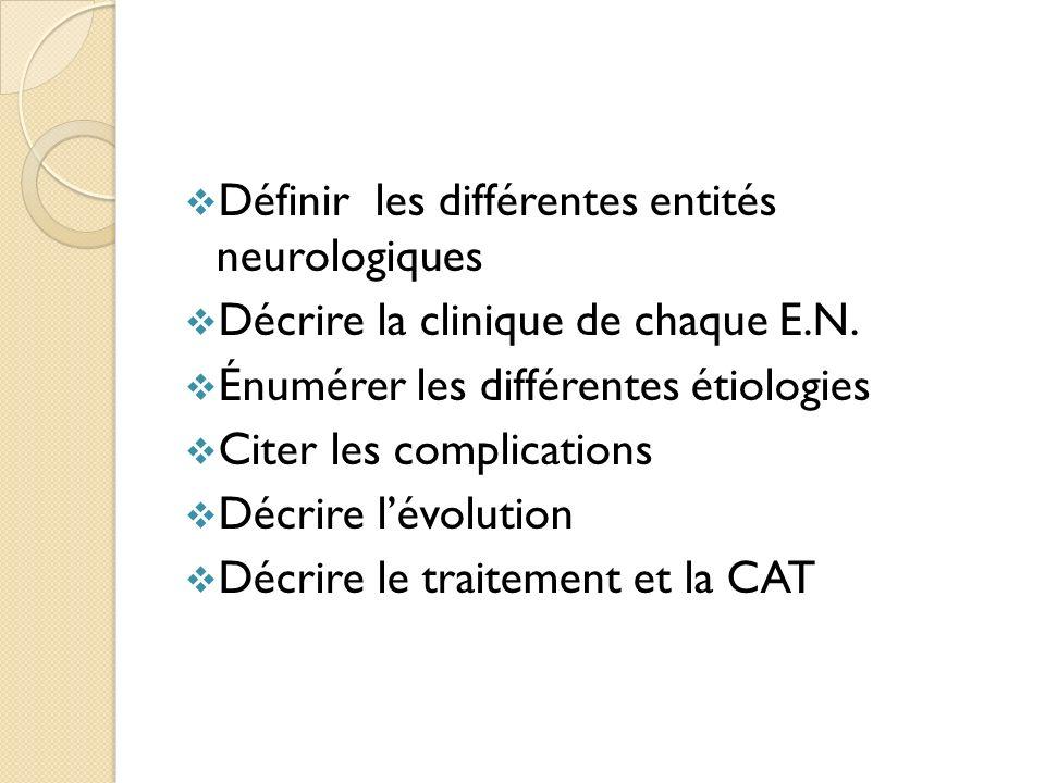 Définir les différentes entités neurologiques