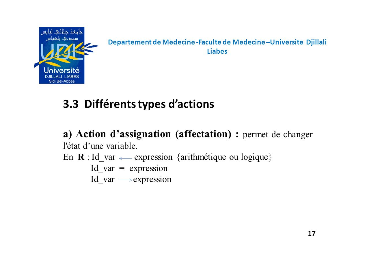 3.3 Différents types d'actions