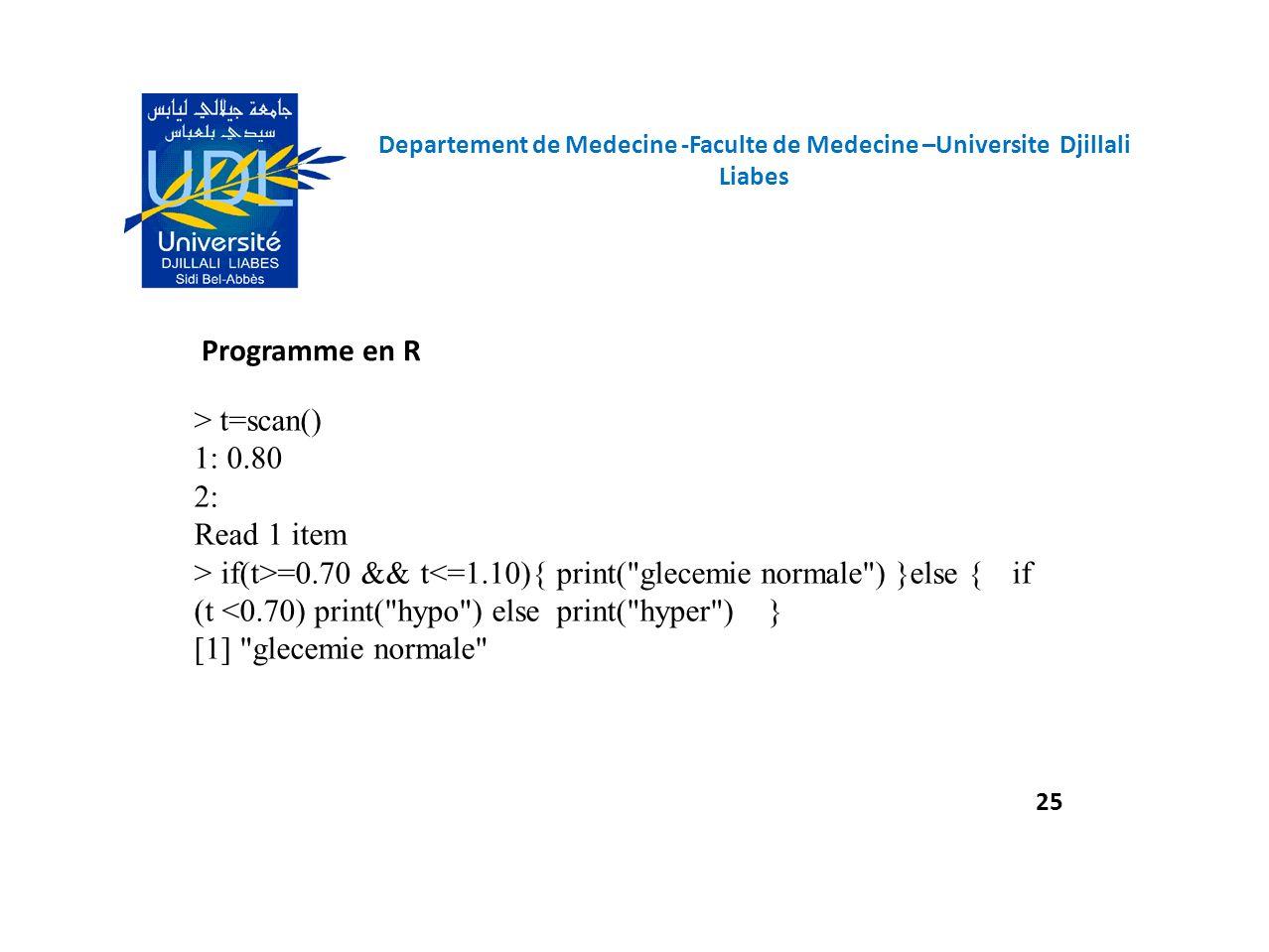 Programme en R > t=scan() 1: 0.80 2: Read 1 item