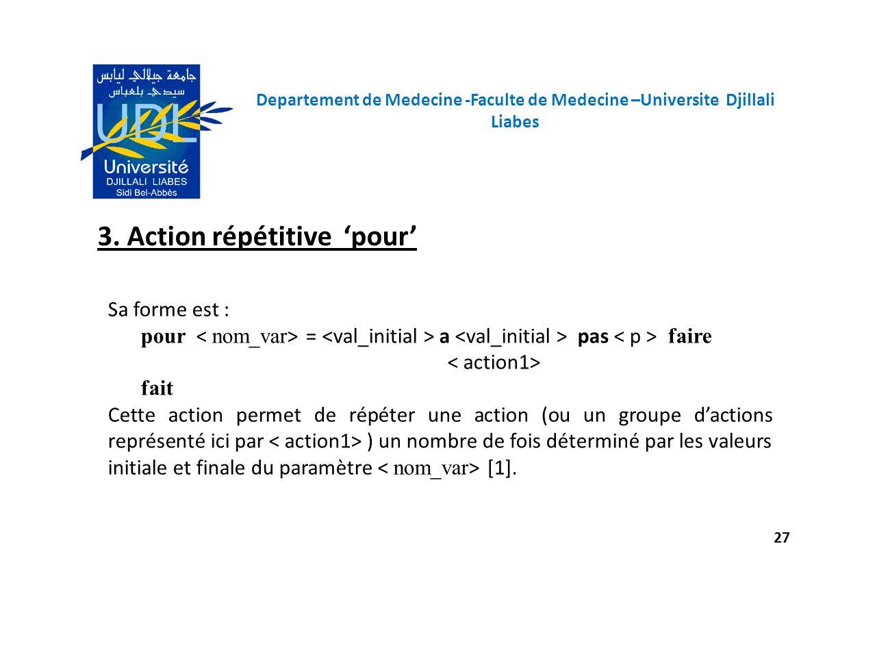 3. Action répétitive 'pour'