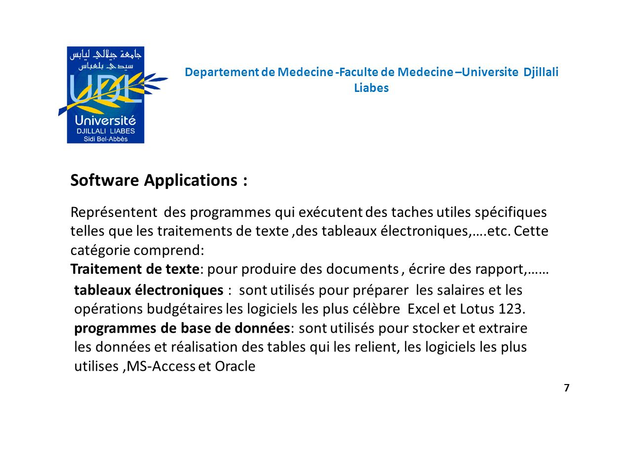 Software Applications :