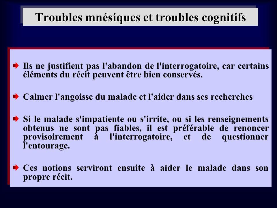 Troubles mnésiques et troubles cognitifs