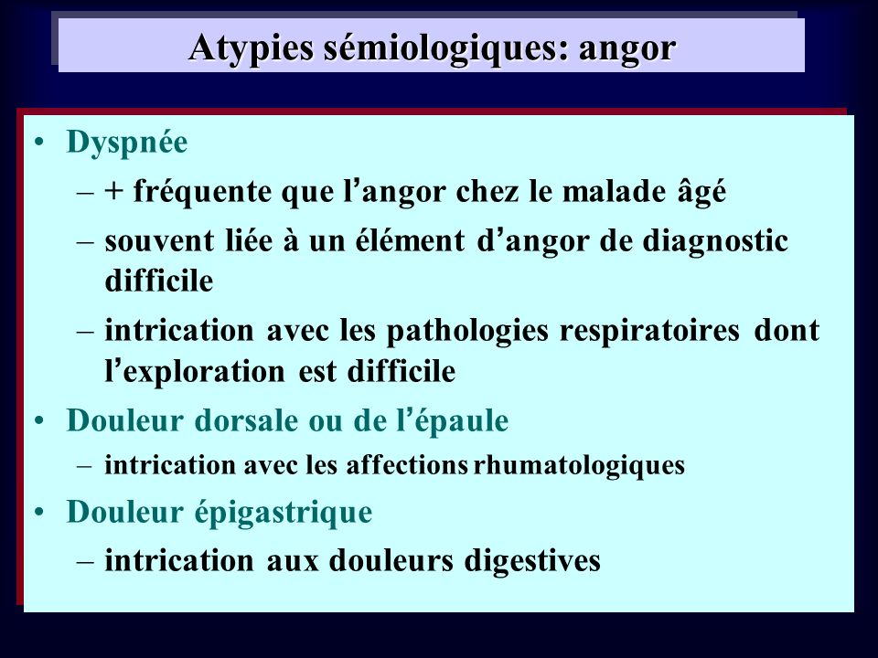 Atypies sémiologiques: angor