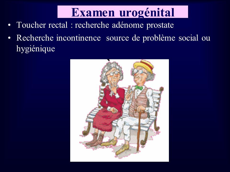 Examen urogénital Toucher rectal : recherche adénome prostate