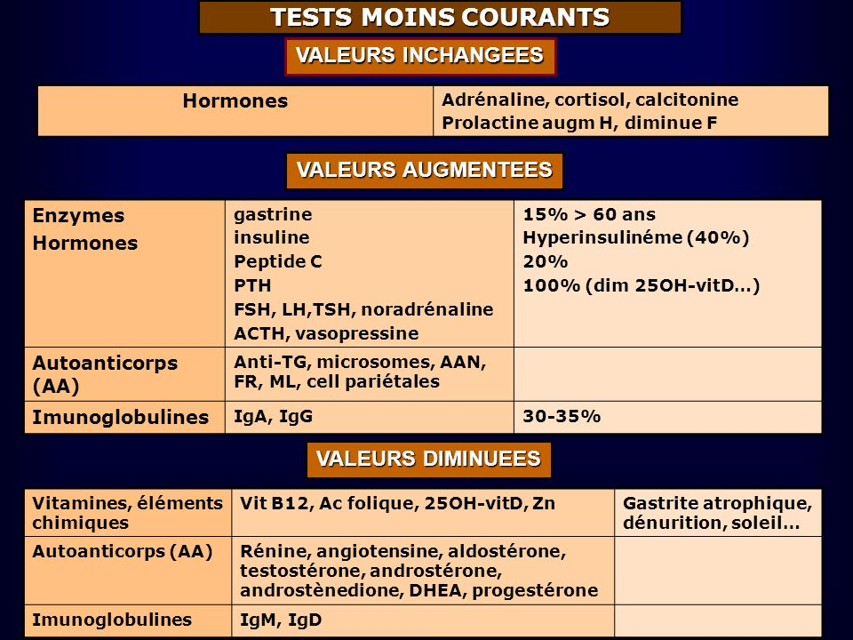 TESTS MOINS COURANTS VALEURS INCHANGEES VALEURS AUGMENTEES