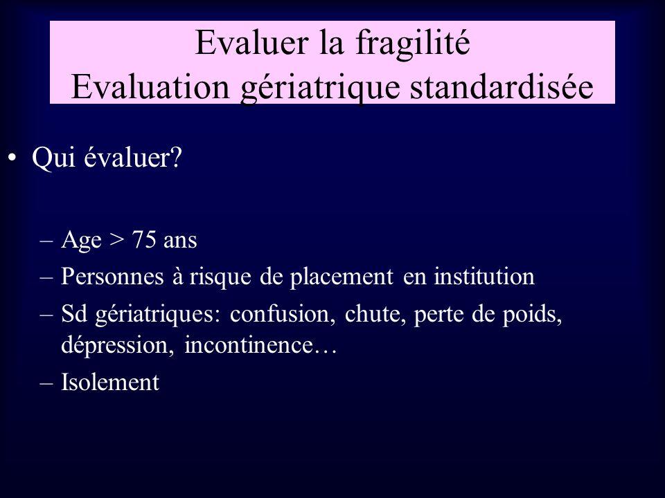 Evaluer la fragilité Evaluation gériatrique standardisée
