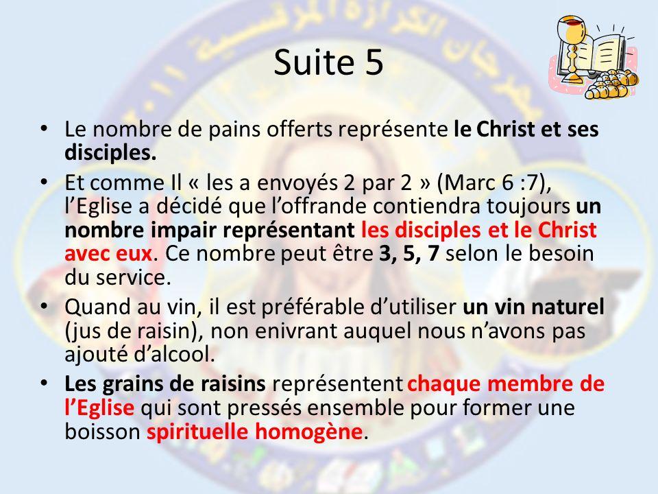 Suite 5 Le nombre de pains offerts représente le Christ et ses disciples.