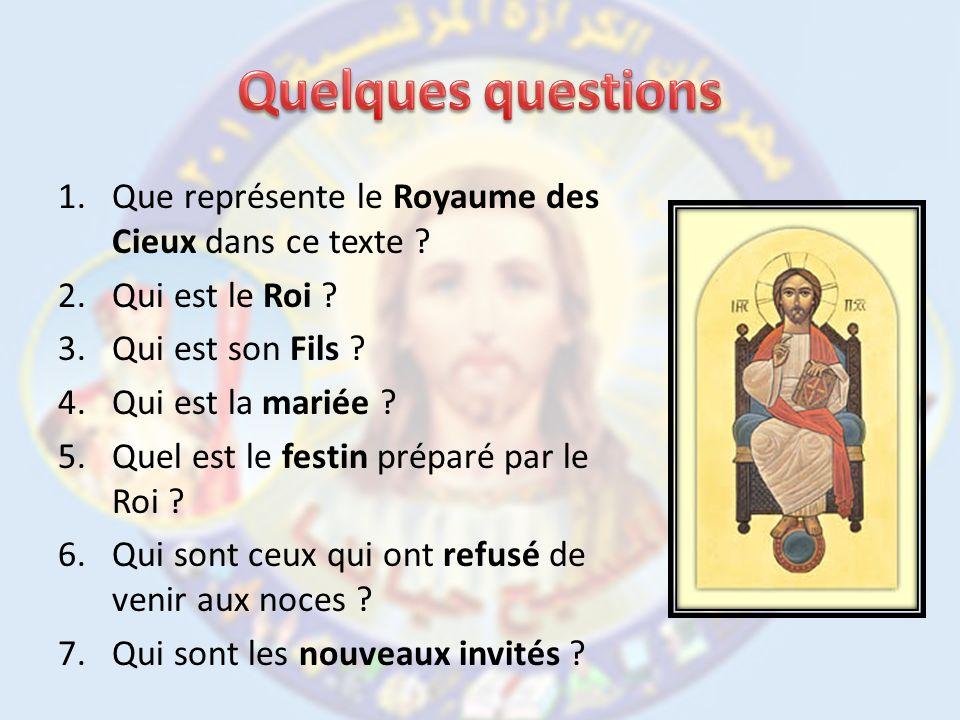 Quelques questions Que représente le Royaume des Cieux dans ce texte