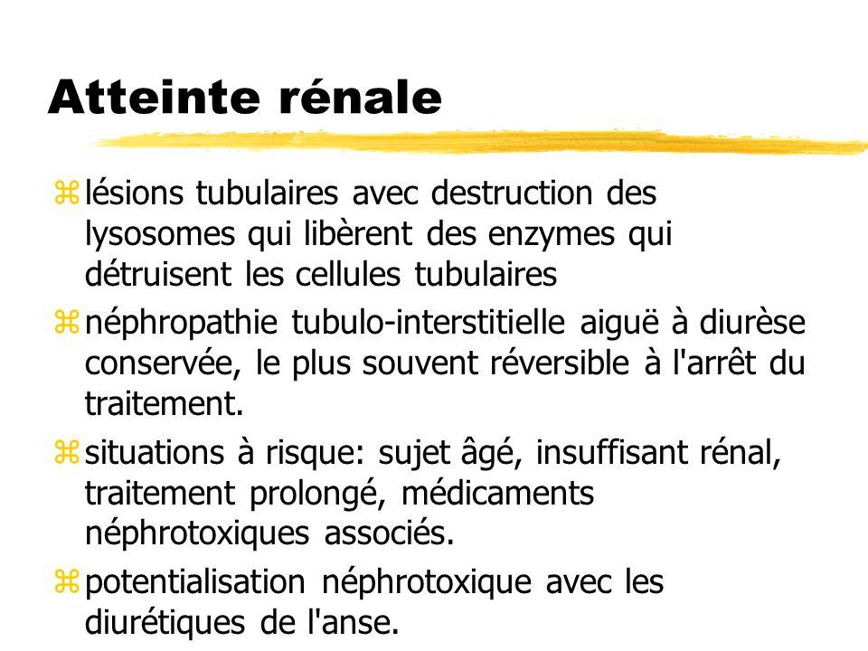 Atteinte rénale lésions tubulaires avec destruction des lysosomes qui libèrent des enzymes qui détruisent les cellules tubulaires.