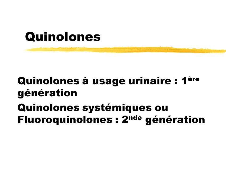 Quinolones Quinolones à usage urinaire : 1ère génération