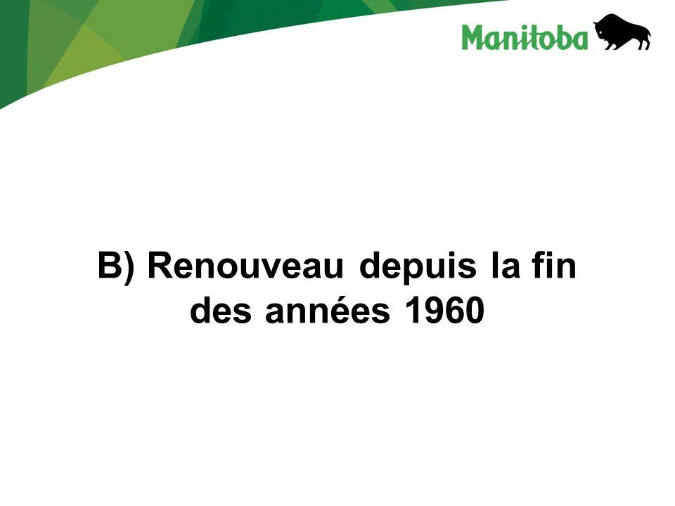 B) Renouveau depuis la fin des années 1960