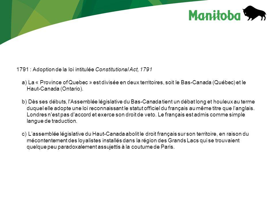 1791 : Adoption de la loi intitulée Constitutional Act, 1791