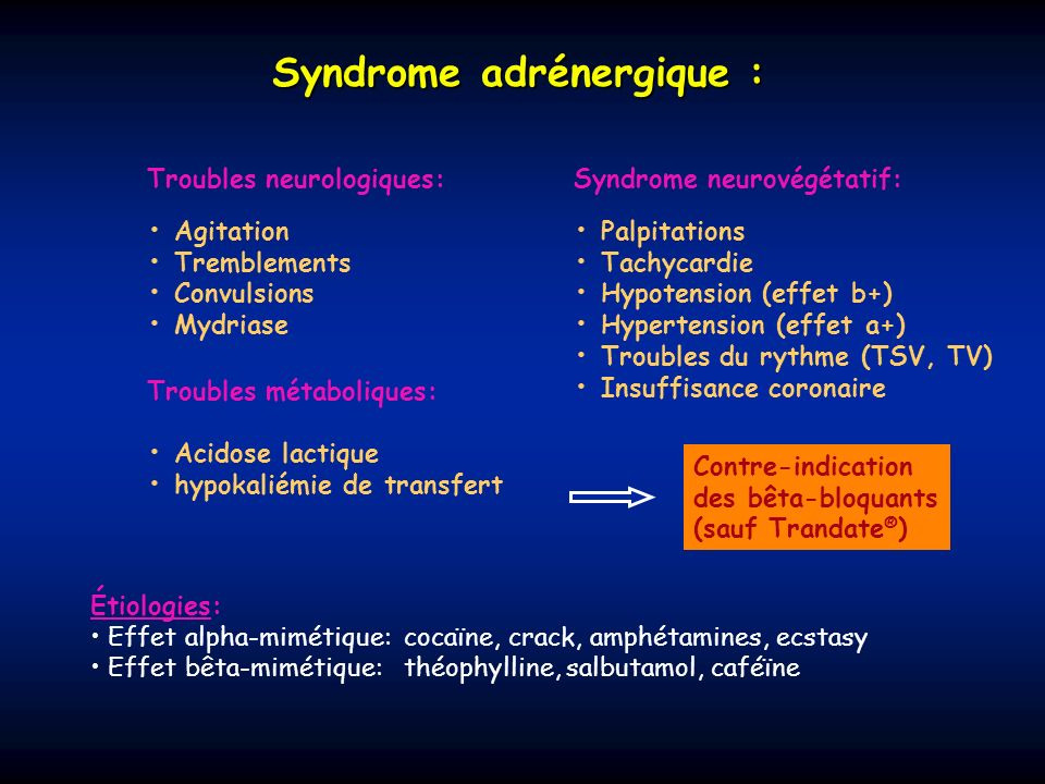 Syndrome adrénergique :