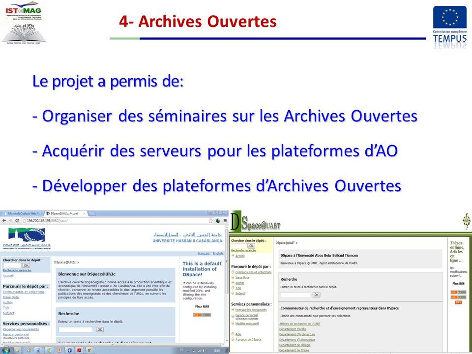 4- Archives Ouvertes Le projet a permis de: Organiser des séminaires sur les Archives Ouvertes. Acquérir des serveurs pour les plateformes d'AO.