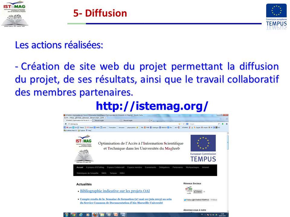 5- Diffusion Les actions réalisées: