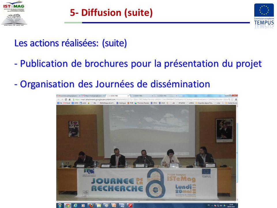 5- Diffusion (suite) Les actions réalisées: (suite) Publication de brochures pour la présentation du projet.