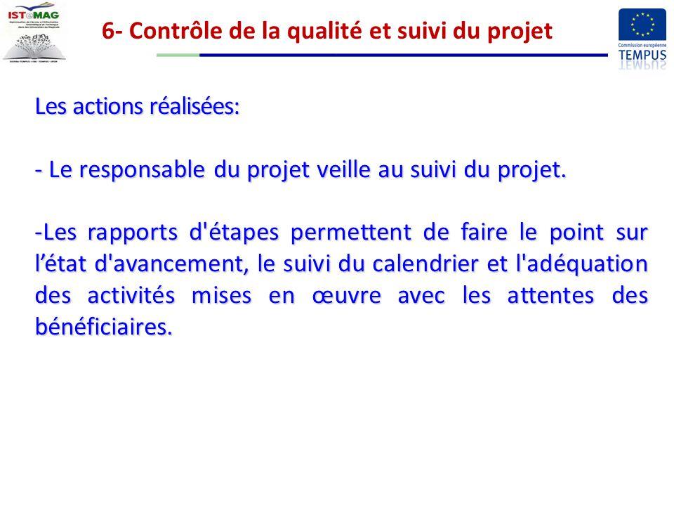 6- Contrôle de la qualité et suivi du projet