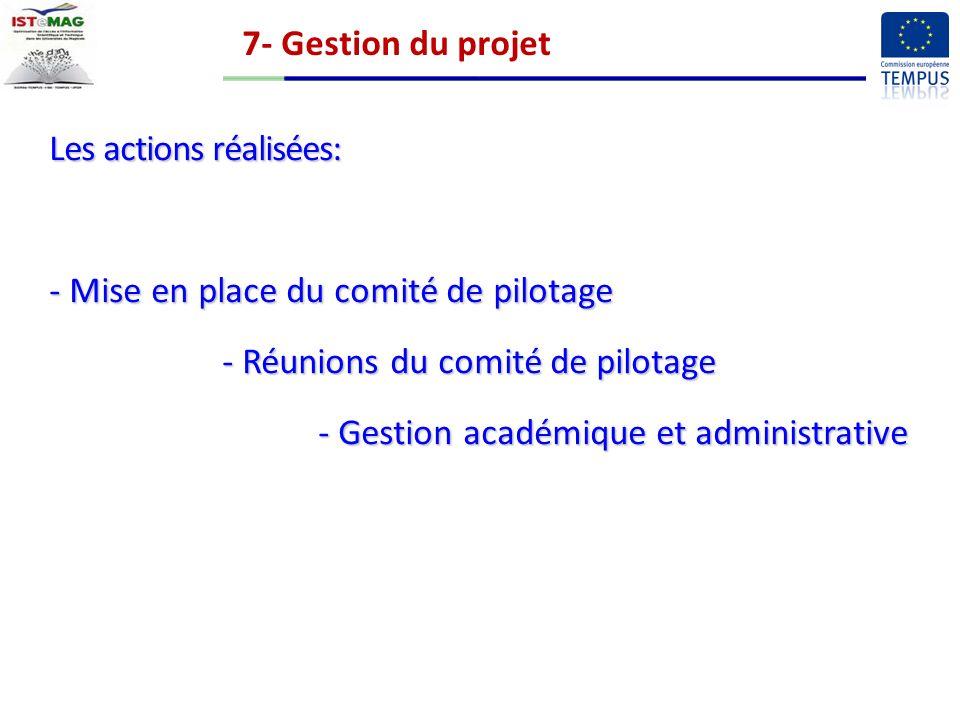 7- Gestion du projet Les actions réalisées: Mise en place du comité de pilotage. - Réunions du comité de pilotage.