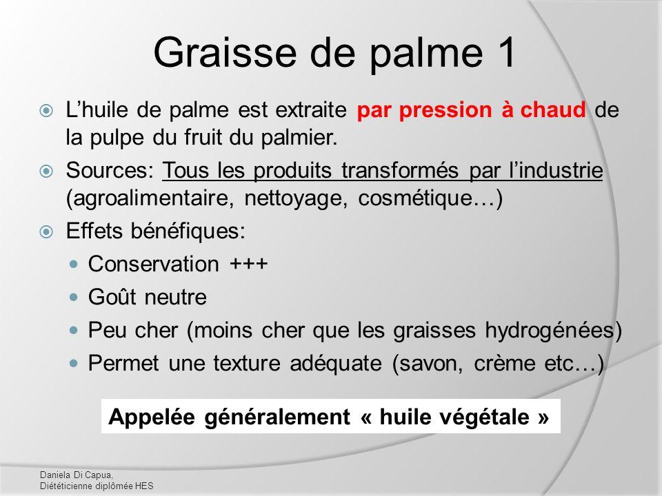 Graisse de palme 1 L'huile de palme est extraite par pression à chaud de la pulpe du fruit du palmier.