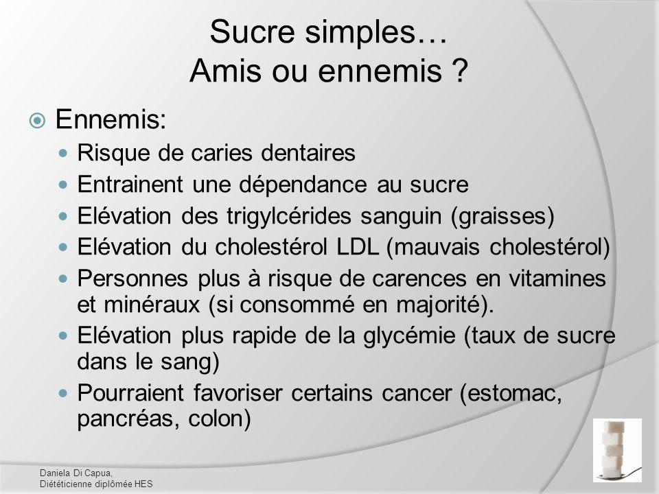 Sucre simples… Amis ou ennemis