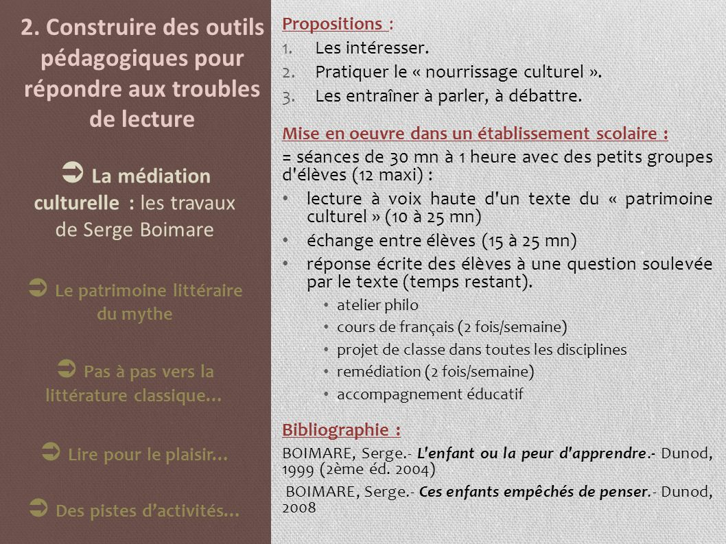  La médiation culturelle : les travaux de Serge Boimare