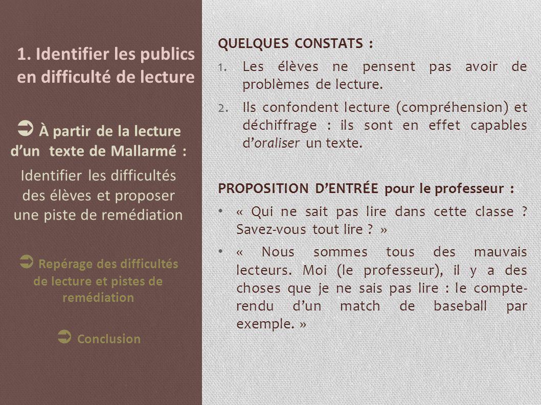 1. Identifier les publics en difficulté de lecture