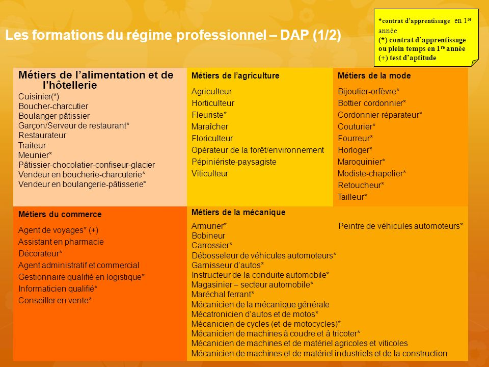 Les formations du régime professionnel – DAP (1/2)
