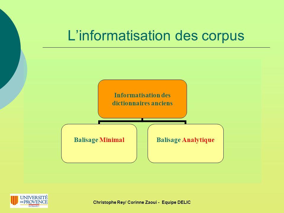 L'informatisation des corpus
