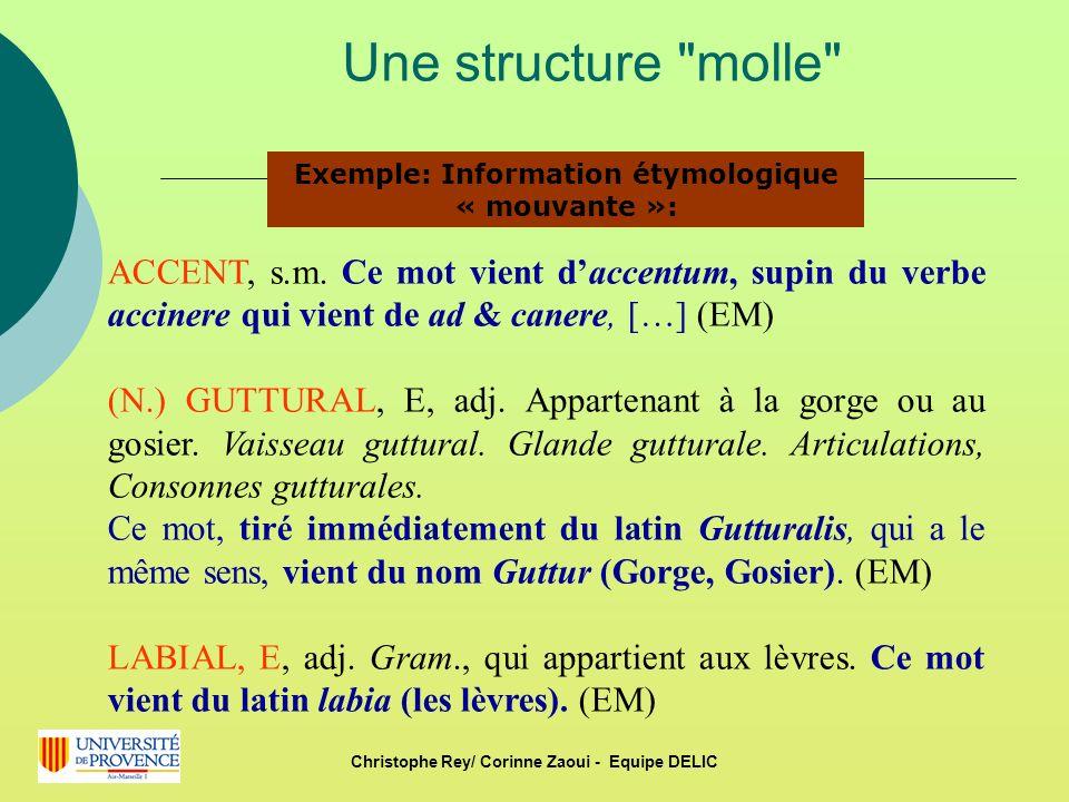 Une structure molle Exemple: Information étymologique « mouvante »: