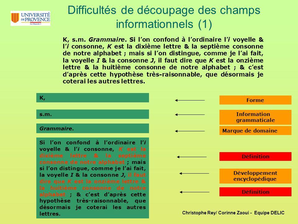 Difficultés de découpage des champs informationnels (1)