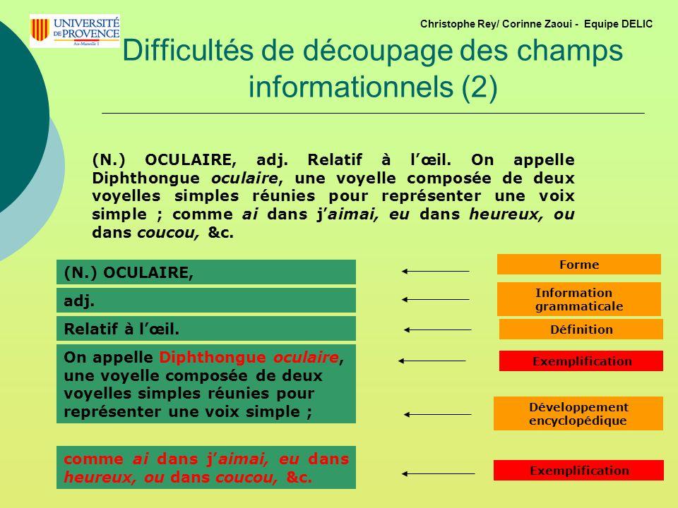 Difficultés de découpage des champs informationnels (2)