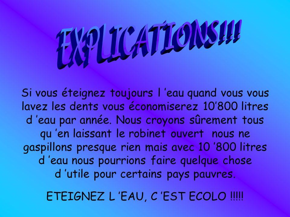 ETEIGNEZ L 'EAU, C 'EST ECOLO !!!!!