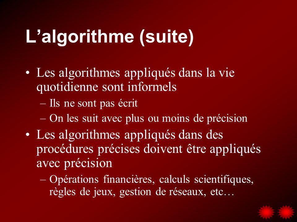 L'algorithme (suite) Les algorithmes appliqués dans la vie quotidienne sont informels. Ils ne sont pas écrit.