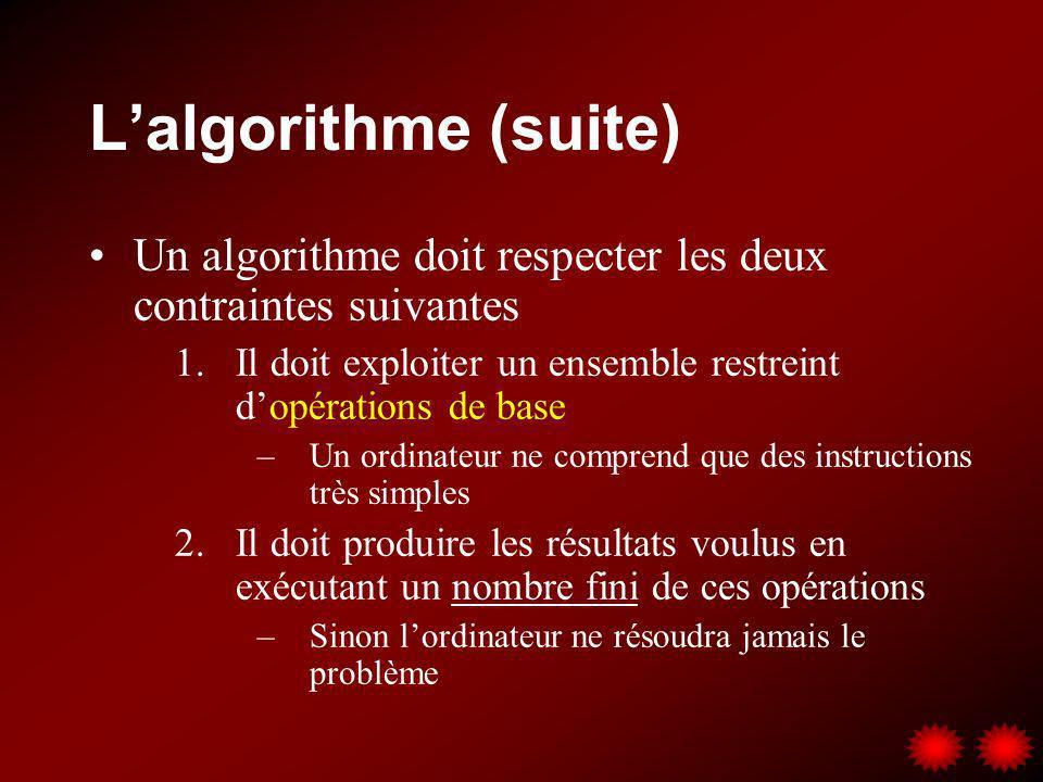 L'algorithme (suite) Un algorithme doit respecter les deux contraintes suivantes. Il doit exploiter un ensemble restreint d'opérations de base.