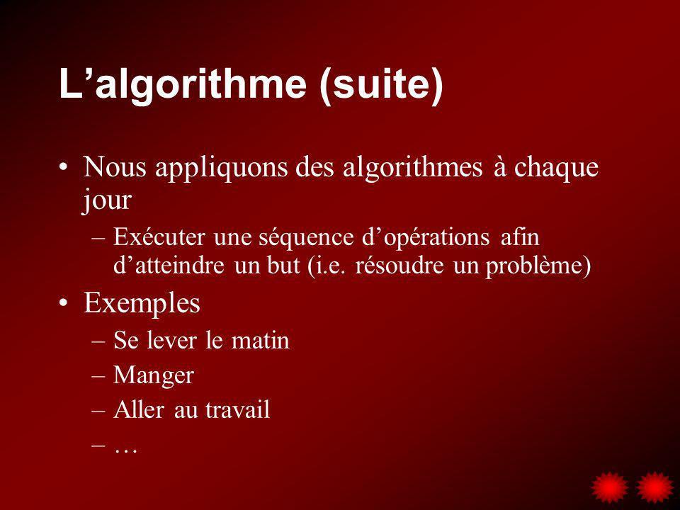 L'algorithme (suite) Nous appliquons des algorithmes à chaque jour