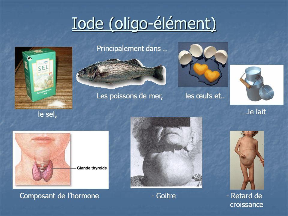 Iode (oligo-élément) Principalement dans .. Les poissons de mer,