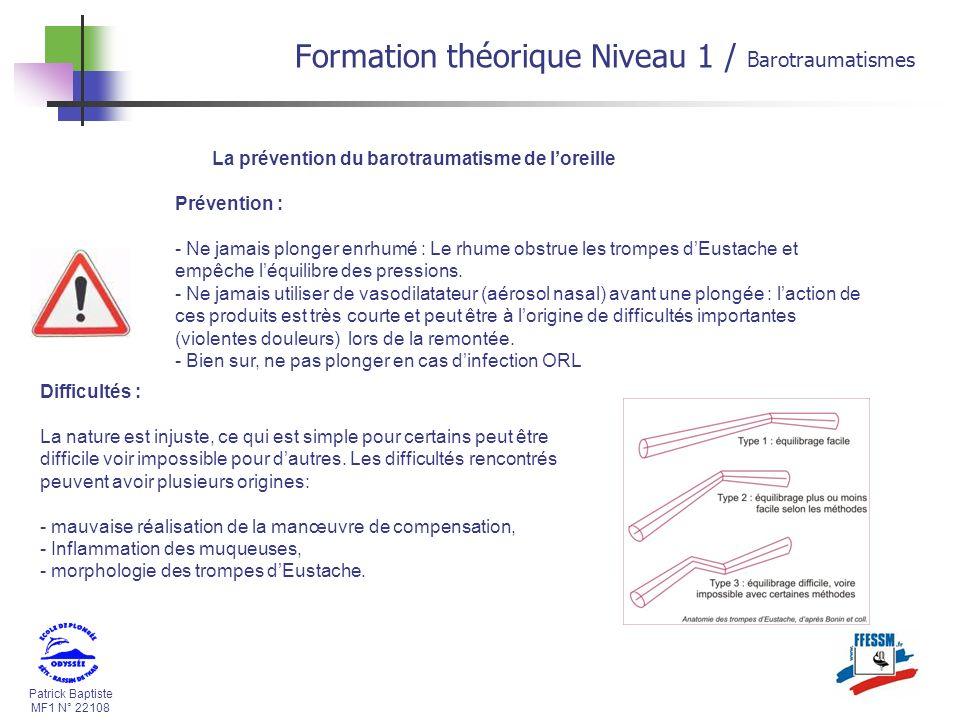 Formation théorique Niveau 1 / Barotraumatismes