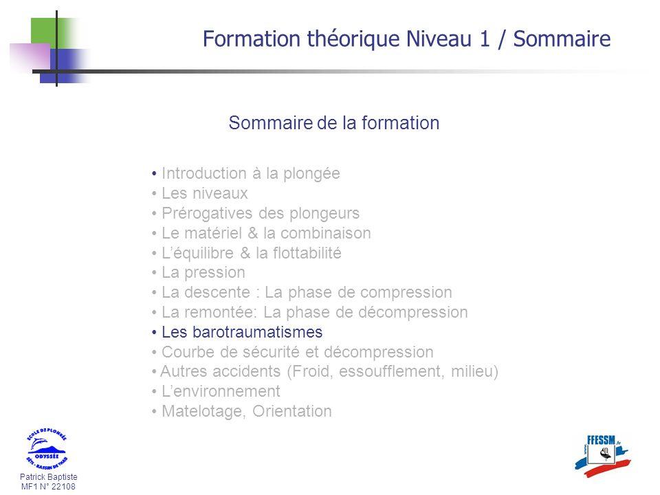 Formation théorique Niveau 1 / Sommaire