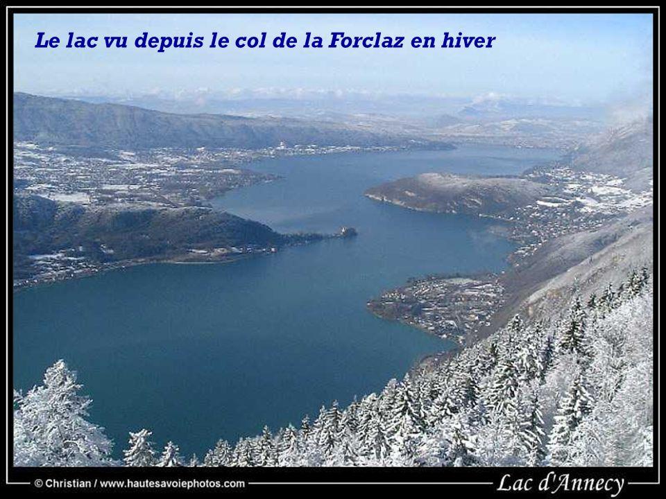 Le lac vu depuis le col de la Forclaz en hiver